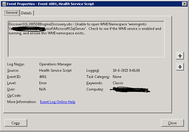 SCOM DiscoverSQL2005DBEngineDiscovery vbs : Unable to open
